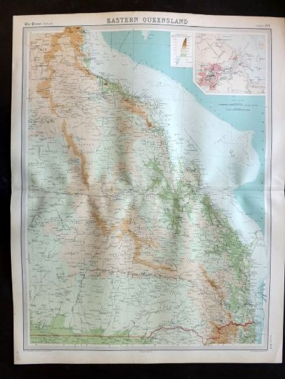 Bartholomew 1922 Large Map. Australia, Eastern Queensland